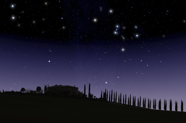 Tuscan farm with a row of ciypresses under starry sky